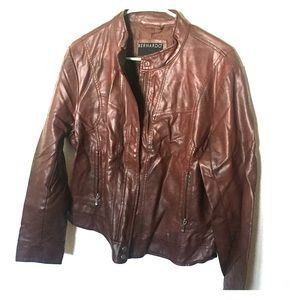 Women's Brown Leather Jacket - Size XL